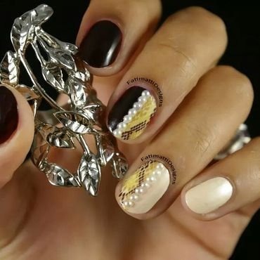 Snakeskin And Pearls  nail art by Fatimah