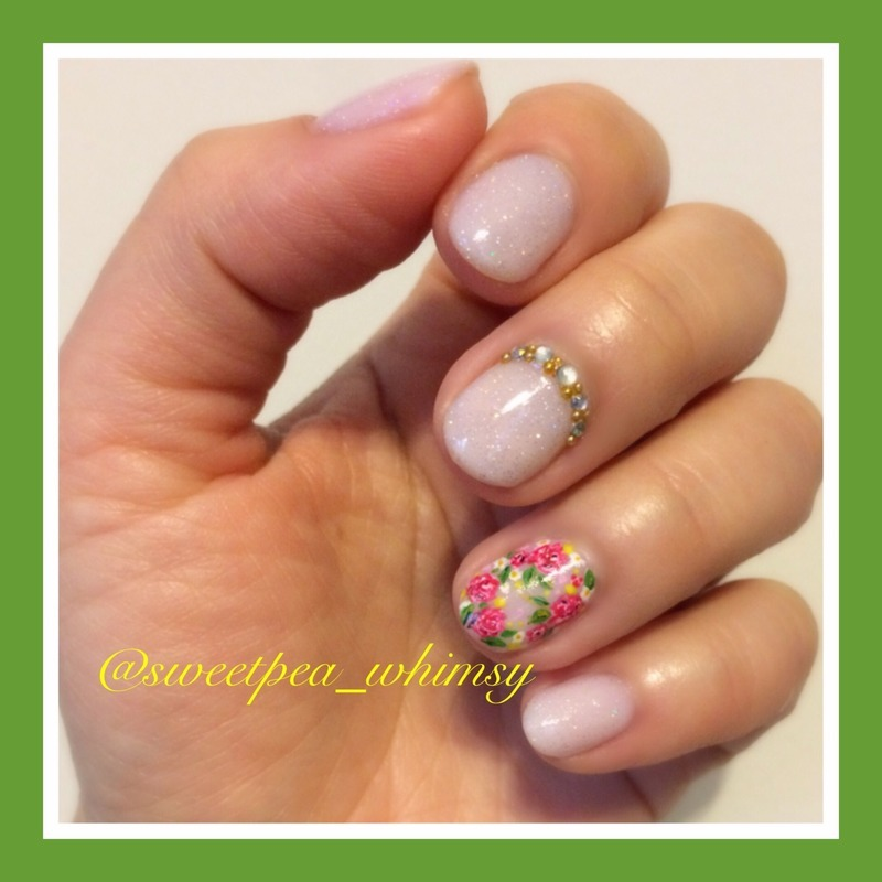 Glittered Pink Nude & Floral nail art by SweetPea_Whimsy