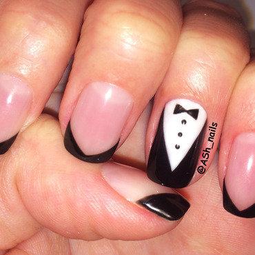 tuxedo design nail art by Anna Sh