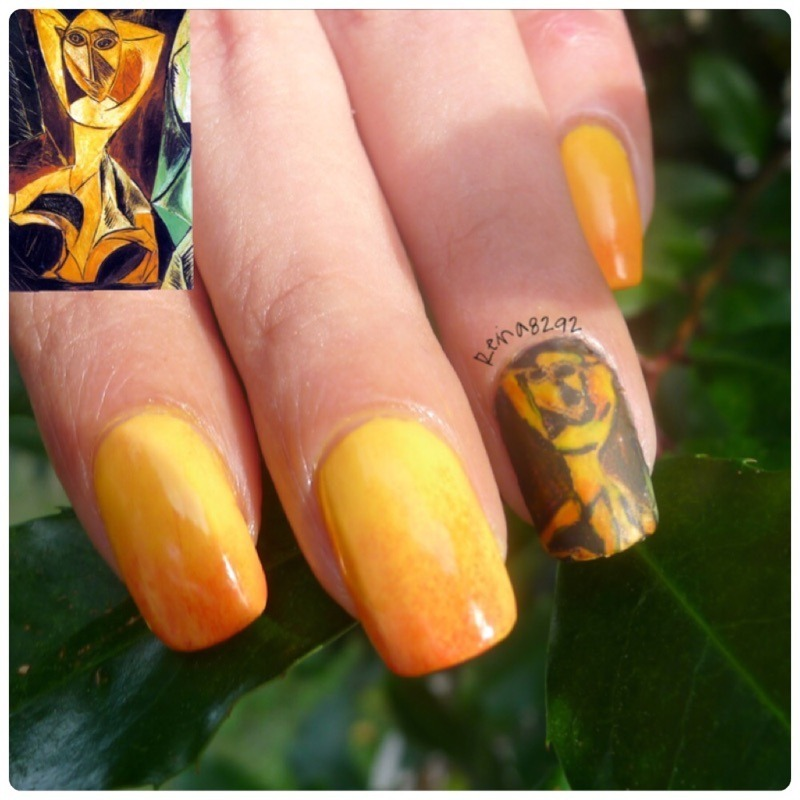 """Pablo Picasso """"The Dancer of Avignon nail art by Reina"""