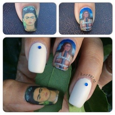 Frida Kahlo nail art by Reina
