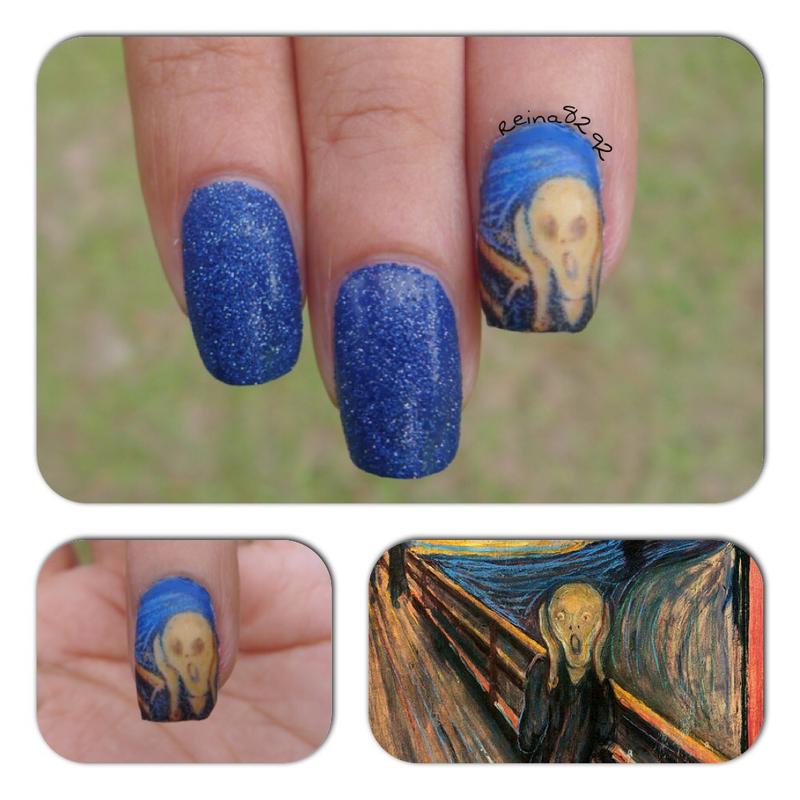 "Edvard Munch ""The Scream"" nail art by Reina"