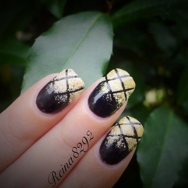 Black and Gold Manicure nail art by Reina