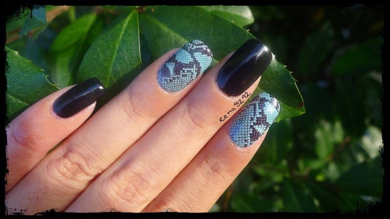 Snake Skin nail art by Reina