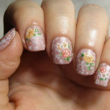 Vintage roses nail art by Szilvia