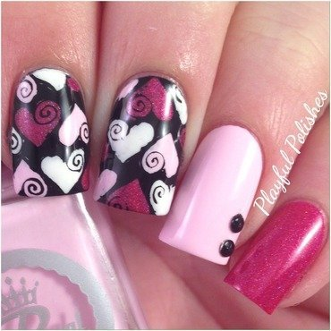 Advanced Stamping Valentines Day Nail Art nail art by Playful Polishes