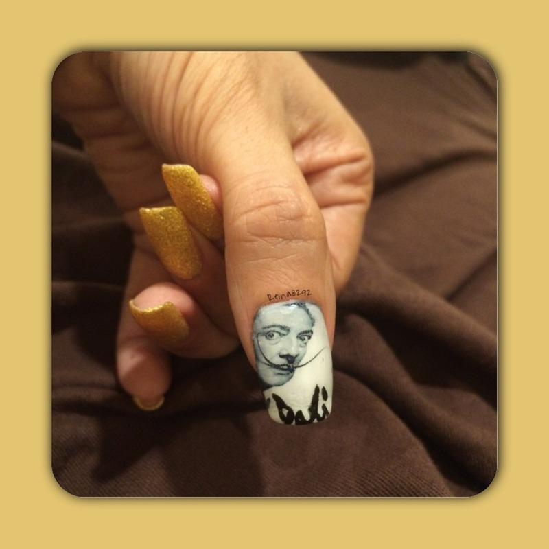 Salvador Dali Portrait Manicure nail art by Reina