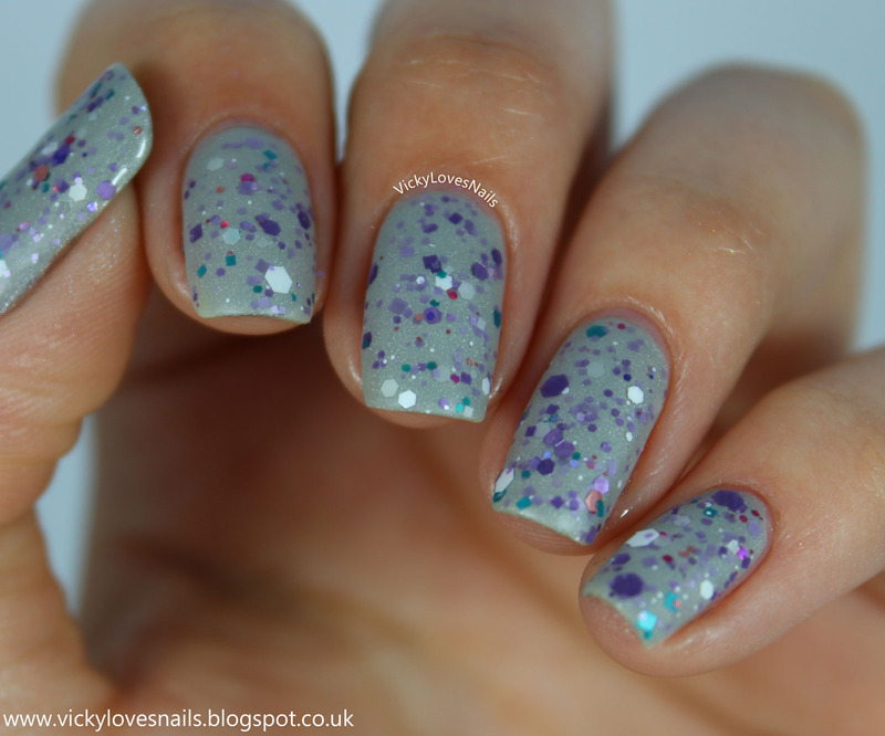 Freckles Polish Glitter Like A Gemini, Freckles Polish Robichoux's Academy, and Freckles Polish You Make Me So Matte Swatch by Vicky Standage