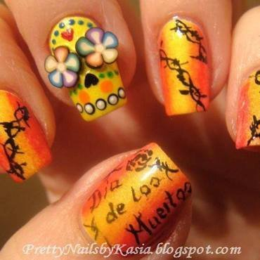 Dia de los Muertos - Sugar skull nail art by Pretty Nails by Kasia