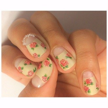 Matte vintage inspired floral nails nail art by Gabrielle