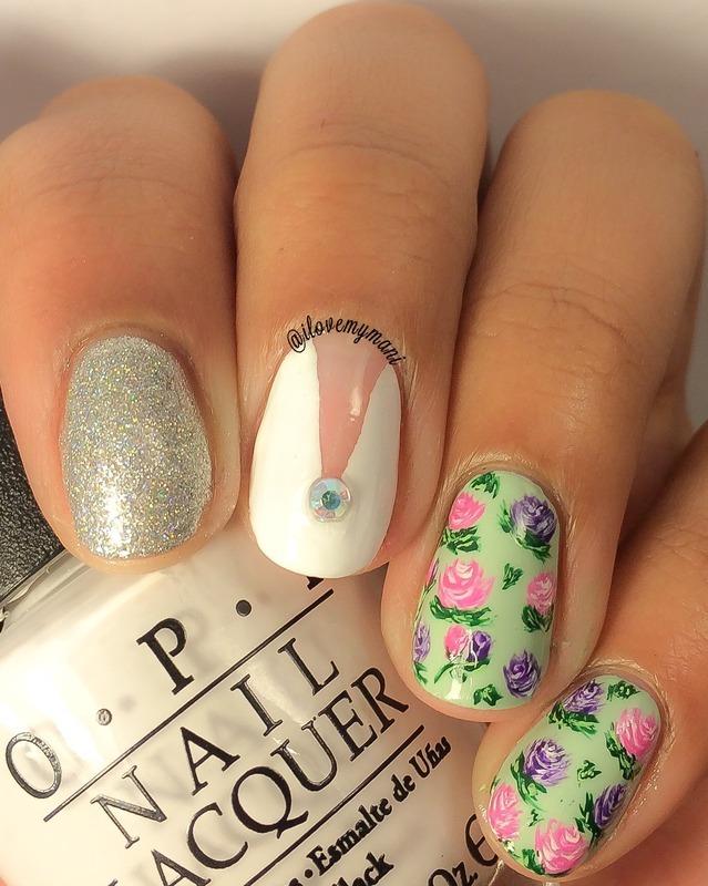 Floral nails nail art by Gabrielle