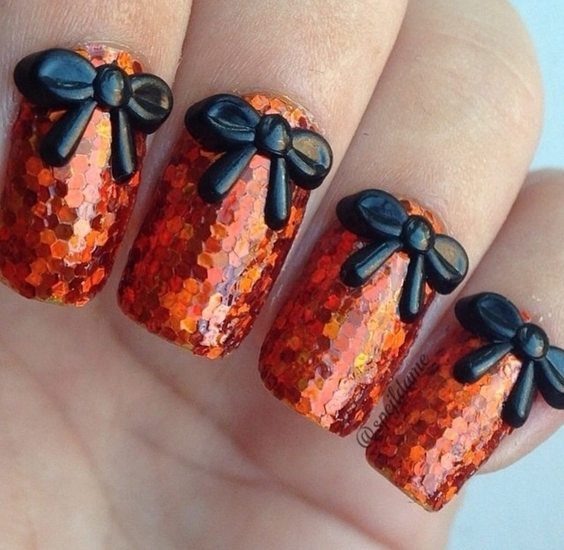 Fancy Orange nail art by Sparkly Nails by Spejldame