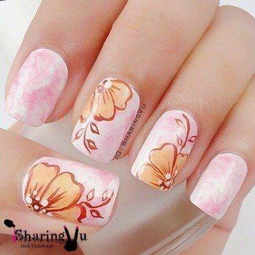 🌸 Floral with Marble base 🌸 nail art by SharingVu