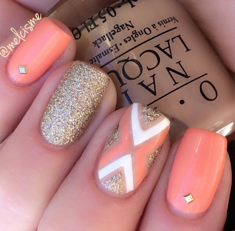 Peachy gold X design  nail art by Melissa