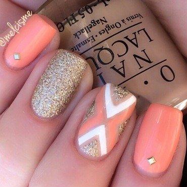 Peachy gold X design  nail art by Melissa