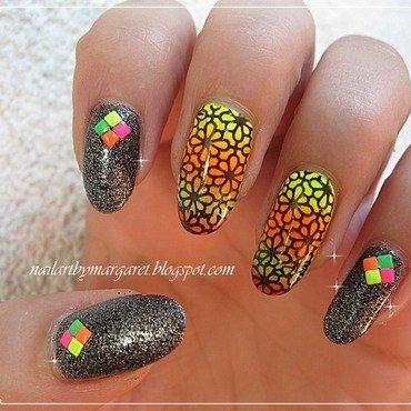 Gradient plus stemple nail art by Margaret Nail Art