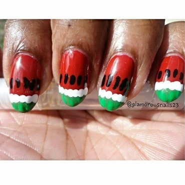 Watermelon Nails nail art by glamorousnails23
