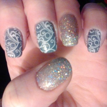 Stamping over my gray and sparkly silver nails nail art by Shelle Blalock