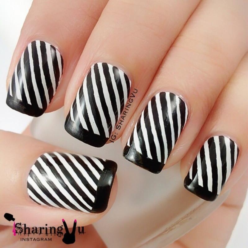 Monochromatic  nail art by SharingVu