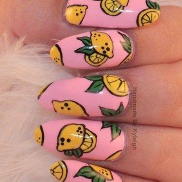 Pink Lemonade nail art by  Kyleigh  'Handmade By Kyleigh'