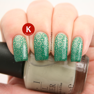 Stamped green gradient nail art by Claire Kerr