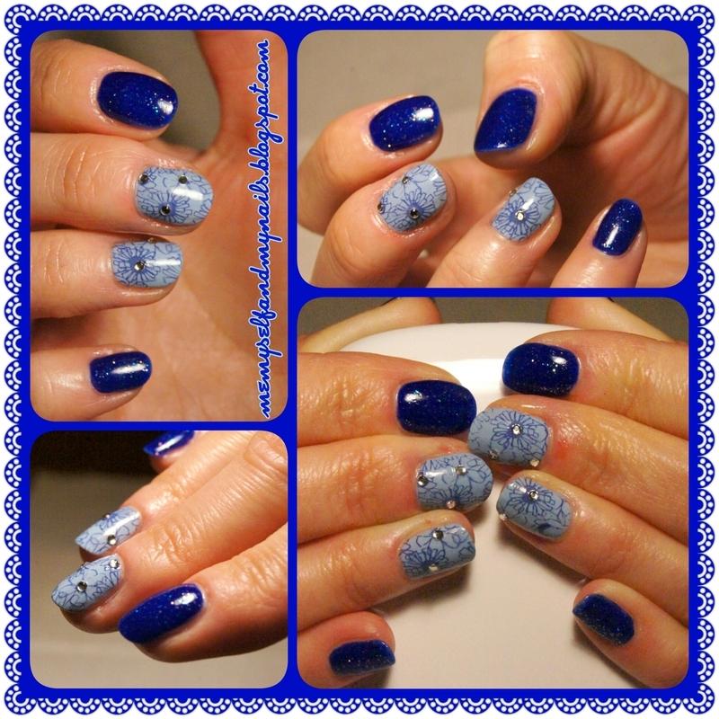 Starry night flowers nail art by ELIZA OK-W