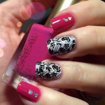 Black Roses nail art by Anna-Maria D