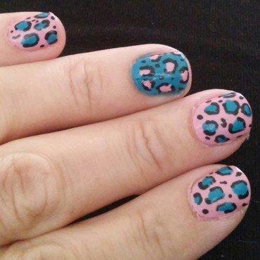 blue and pink cheetah nail art by Jamilla