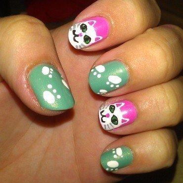 Kitties  nail art by Jamilla