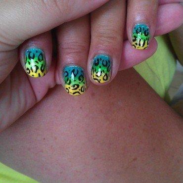 Cheetah gradient  nail art by Jamilla