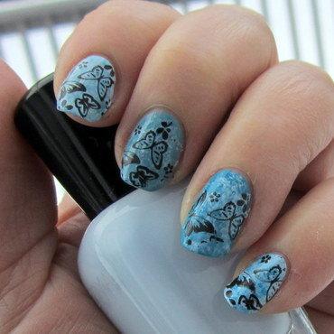 Butterflies are Blue nail art by HELEN KAY