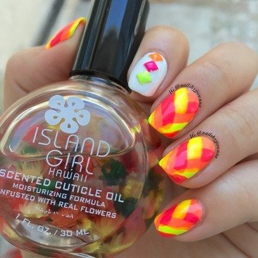 Neon Fishtail Nails nail art by Jonna Dee
