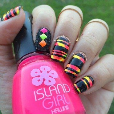 Black stripes and Neon nail art by Jonna Dee