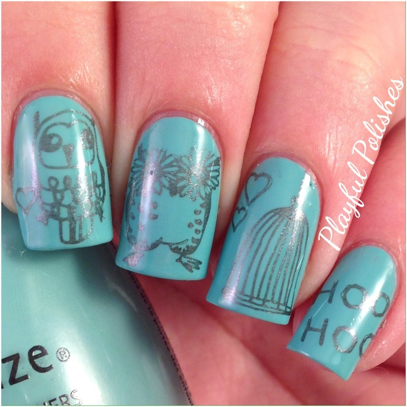 Owl Nail Art nail art by Playful Polishes