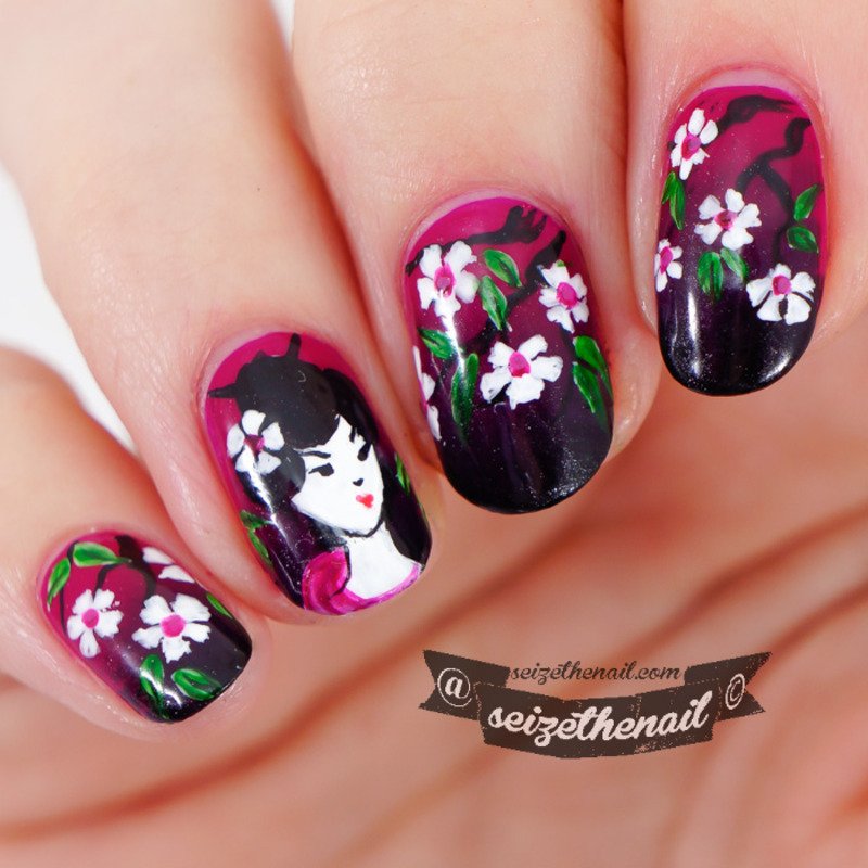 Geisha nail art nail art by Bella Seizethenail