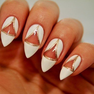 Negative triangle nail art by Jane