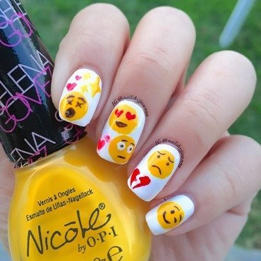 Emoji Nails nail art by Jonna Dee