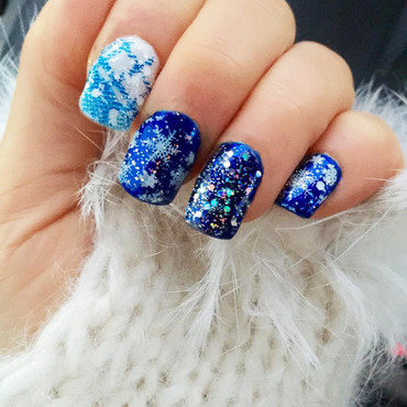 Winter Snowflakes nail art by Marla Calandra