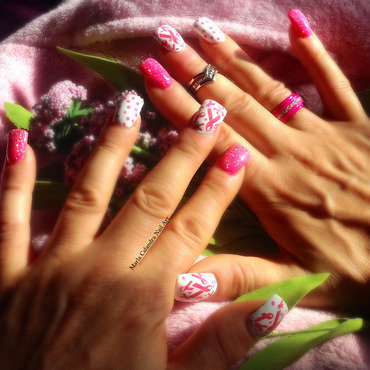 Breast Cancer Awareness nail art by Marla Calandra
