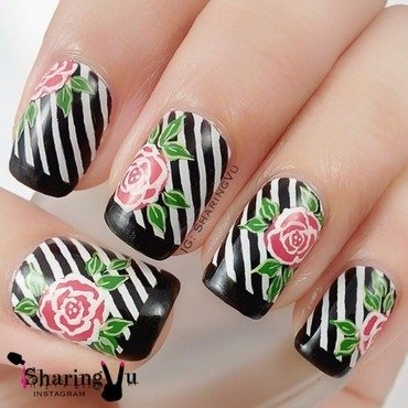 🌹 Monochromatic with Floral 🌹 nail art by SharingVu