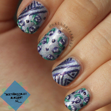 Purple lines roses foofynails recreation nail art thumb370f