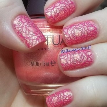 Floral stamped texture nail art by Jenette Maitland-Tomblin