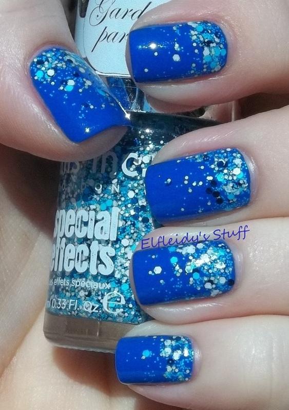 Blue glitter gradient nail art by Jenette Maitland-Tomblin