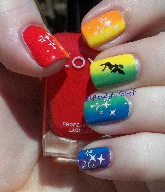 Rainbow gradient nail art by Jenette Maitland-Tomblin