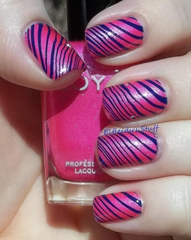 Bright stripes nail art by Jenette Maitland-Tomblin