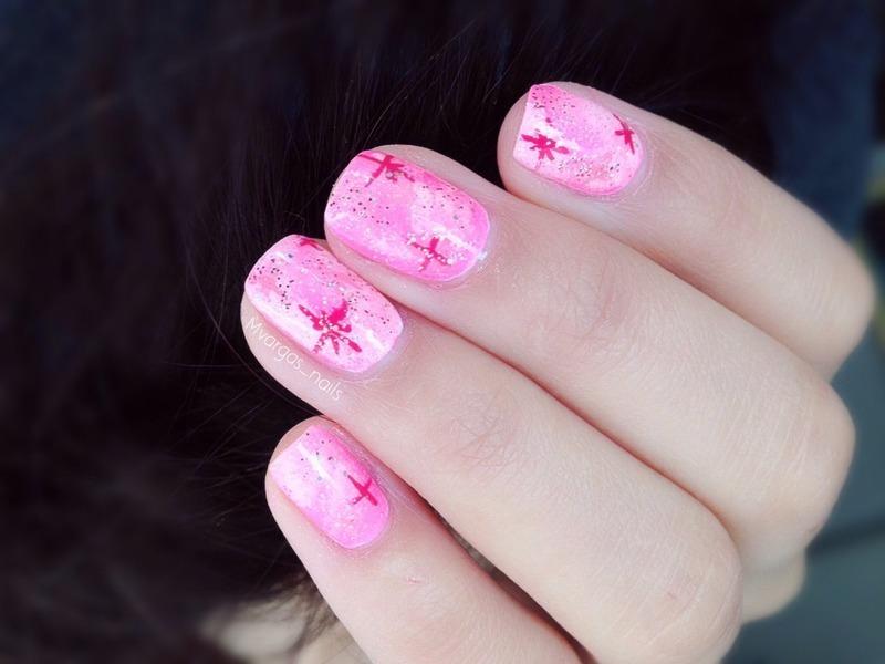 Pink Galaxy  nail art by Massiel Pena