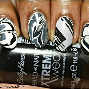 Black & White Watermarble  nail art by glamorousnails23
