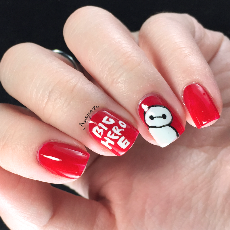 Baymax Big Hero 6 nail art by Amey