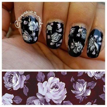 Monochrome Florals nail art by Jaya Kerai