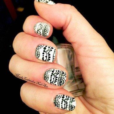 BLACK AND WHITE VINTAGE LACE nail art by Marla Calandra